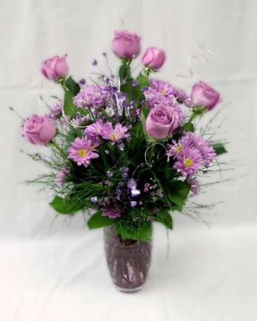 Shadey Purple With Lavender Roses