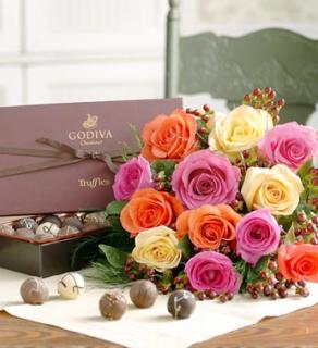 One Dozen Multicolored Roses with Chocolates