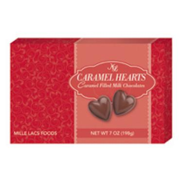 WHIMSICAL MILK CHOCOLATE CARMEL FILLED HEARTS 7 OZ BOX