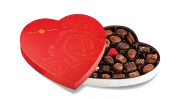 EMBOSSED RED HEART ASSORTED CHOCOLATES 5.5oz