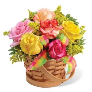 SWEET BASKET OF ROSES FOR MOM