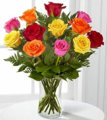 Mixed Dozen Vased Roses