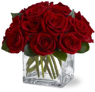 Contemporary Dozen Red Rose Bouquet