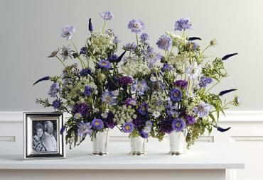 Wildflowers in Silver Urns