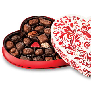 RED SWIRL HEART BOX 12.25oz ASSORTED CHOCOLATES
