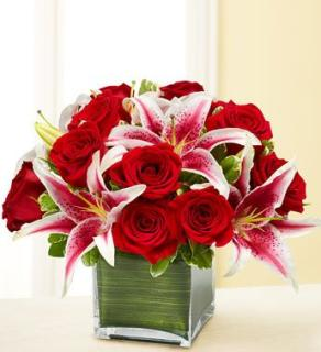 FEBUARY MODERN EMBRACE RED ROSES AND LILIES
