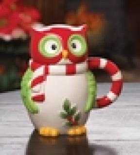 FESTIVE OWL COFFEE MUG WITH LID