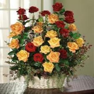 Garden Basket Of Roses
